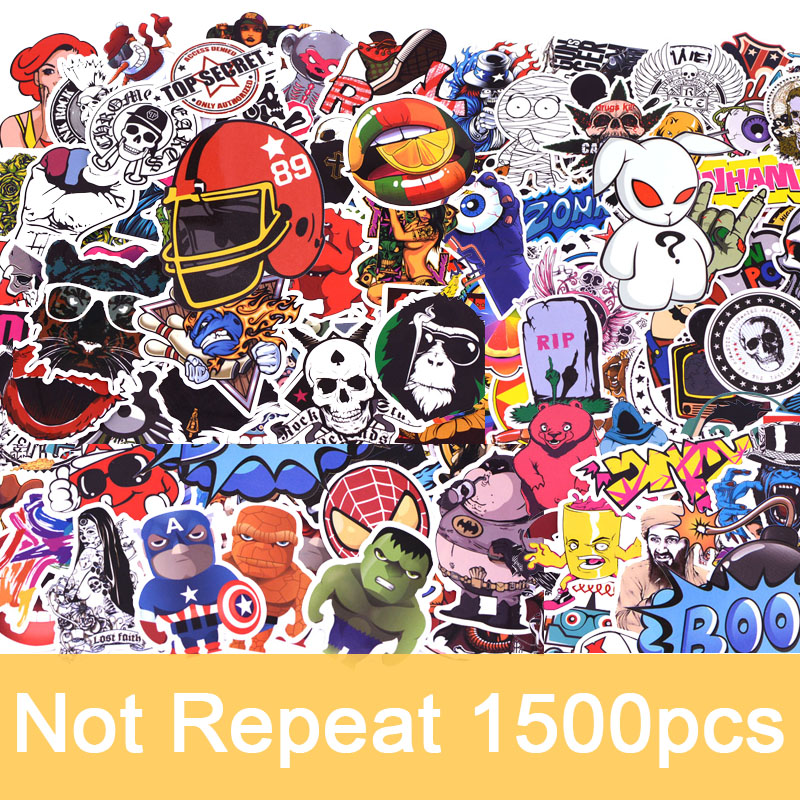 1500pcs/pack Random Not Repeat Graffiti Anime Cool Stickers Kid Toy For Luggage Laptop Skateboard Moto Car Waterproof Sticker