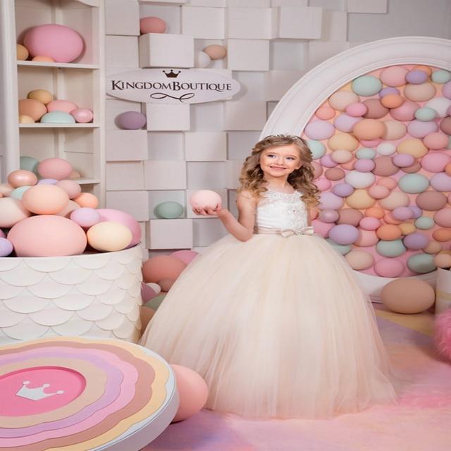 Tulle Glitz Pageant Dresses Long Flower Girls Dresses For Wedding ...