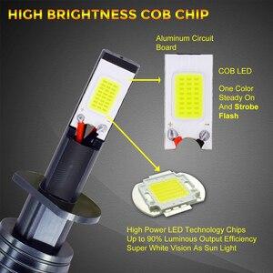 Image 3 - Ampoules anti brouillard de voiture, Flash LED stroboscopique, 12V H1 H11 H8 H7 H3 9005 9006 HB3 HB4 880 881, LED COB, blanc, jaune, bleu, 2 pièces