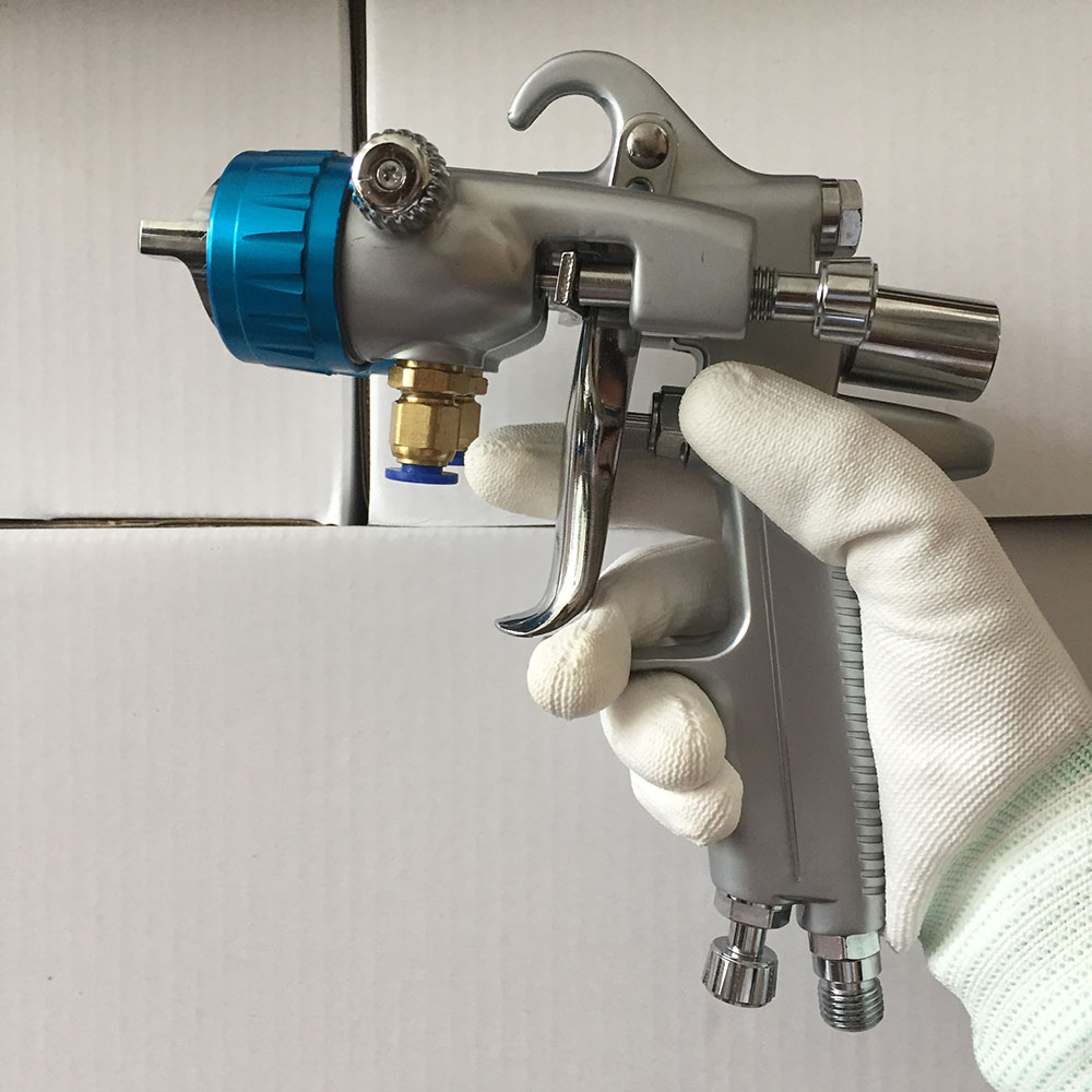 SAT1189 pistola de pintura high pressure air paint gun double nozzle 1.3mm chrome plate paint spray gunSAT1189 pistola de pintura high pressure air paint gun double nozzle 1.3mm chrome plate paint spray gun