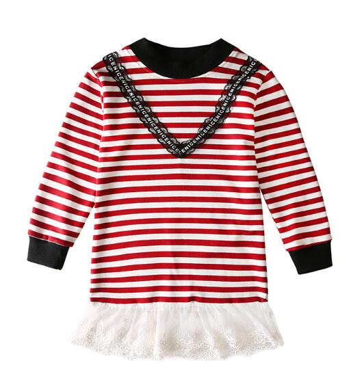 Autumn Lace stitching Dresses For Kids Girls Striped Children's Dresses Dress Kids Spring Teenage Girl Clothes 6 8 12 Years