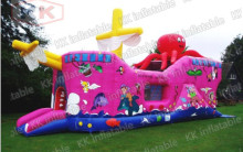 inflatable beautiful jumping bouncer boat slide commercial rent