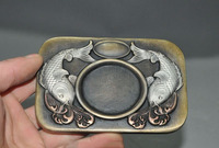 Old China bronze Wealth Lucky Goldfish Fish Calligraphy tools ink stone ink slab