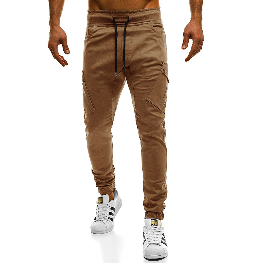 2018 Hot New Mens Pants Fashion Brand Slim Solid Color Elasticity Men Casual Pants Man Trousers Designer Khaki Mens Joggers 4XL ...