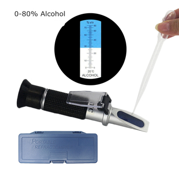 Alcohol Meter Refractometer 0-80 Hydrometer Refractometer Honey Salinity For Alcohol Moonshine Concentration ATC Spirits Tester