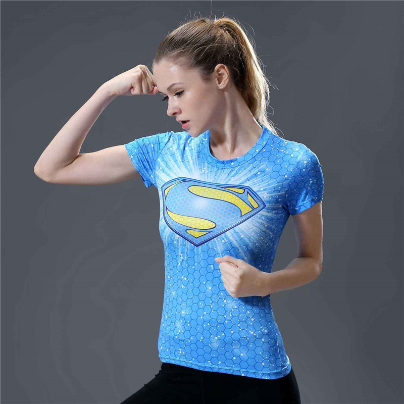 2  Fashion Fitness T Shirt Women Compression Shirt Short Sleeve O-neck T-shirt Summer Tops Superman Tee Shirt Femme Camisetas Mujer