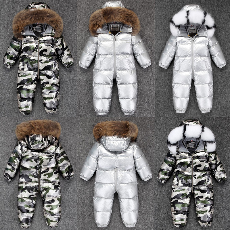 2020 Boy Baby Jacket 80% Duck Down Outdoor Infant Clothes Girl Boys Kids Jumpsuit 2~5y Russian Winter Snowsuit Warm Baby Clothes