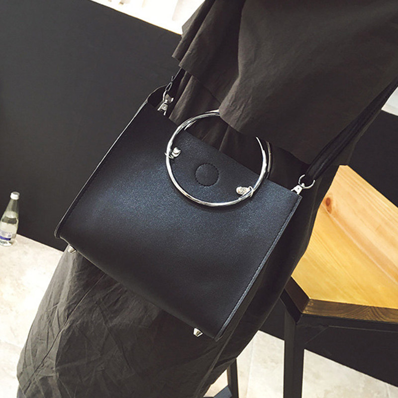 Fashion Women Message Bags With Small Purse Metal Ring Handle Leather Handbag Ladies Girls Trendy Casual Shoulder Bag B