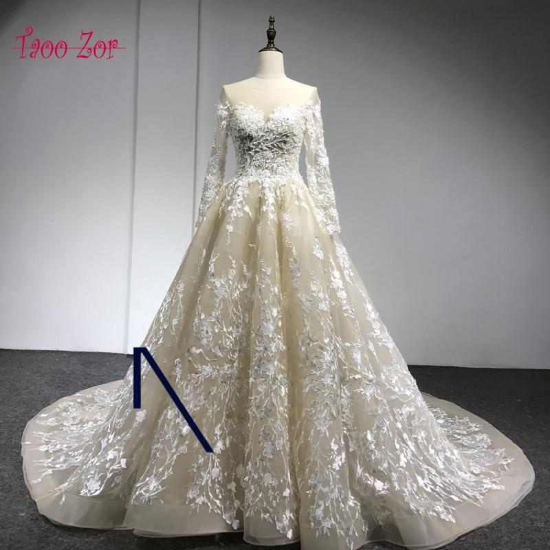 Amdml रोमांटिक स्कूप गर्दन - शादी के कपड़े