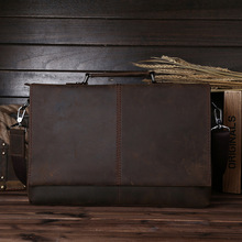 Mens mad horse leather briefcase, computer bag, work leather, antique, large capacity 1079