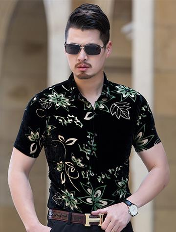 Summer Men Short Sleeved Shirt Mens Floral Flower Print Black Thin Slim Silk Business Casual Shirts M-3XL