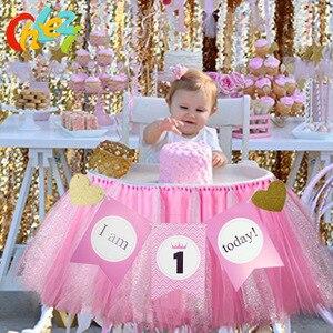 Image 2 - 1セットベビー1年の誕生日色旗チュチュネット糸ベビーチェア誕生日パーティーの装飾私は1今日バナーベビーシャワー