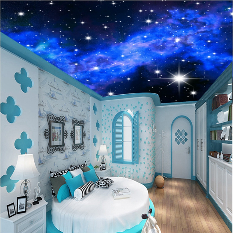 Custom photo 3D Star wallpapers KTV Hotels ceiling dream living room bedroom ceiling bright stars wall mural wall paper painting custom 3d photo wallpaper star planet universe space planet mural wall paper ceiling living room bedroom 3d wall mural wallpaper