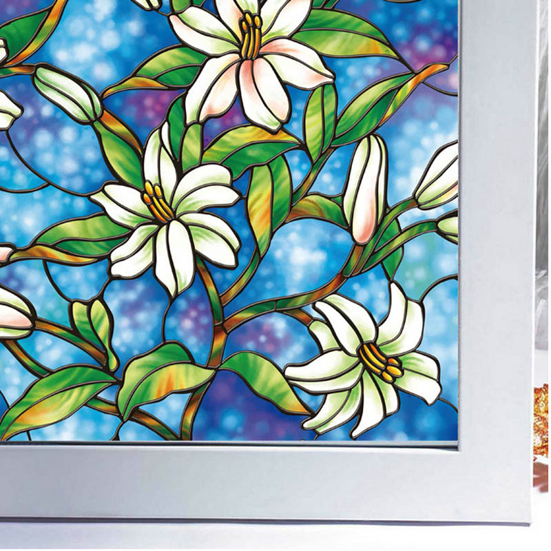 Flowers Painted Decorative Stained Gl Window Film Door Wall Stickers Home Decor Decals Posters 026 In From