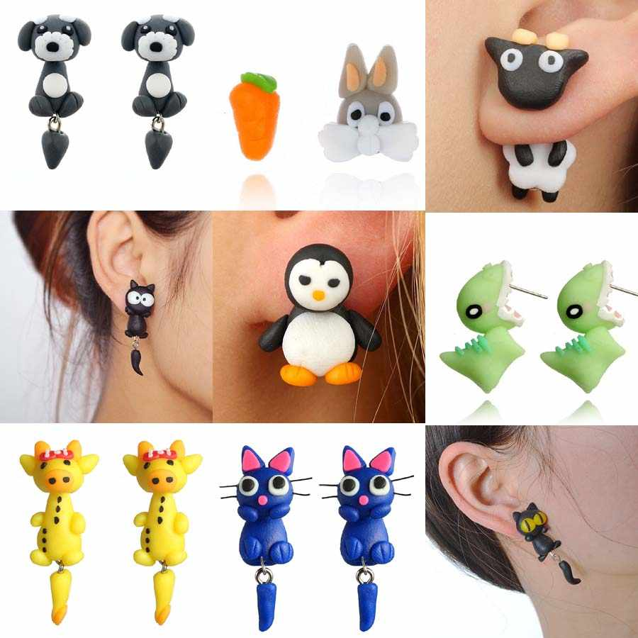 Fashion Handmade Polymer Mario Clay Cat Dog Sheep Rabbit Stud Earrings for Women 3D Cute Cartoon Animal Earrings Brinco