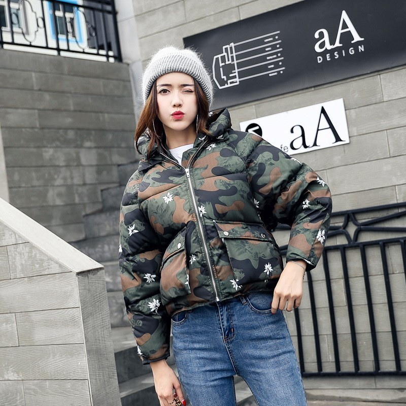 Winter Fashion Women Jackets Short Cute Cotton Padded Pink Camo Black White Coats Causual Warm Hoodies Loose Padded   Parkas
