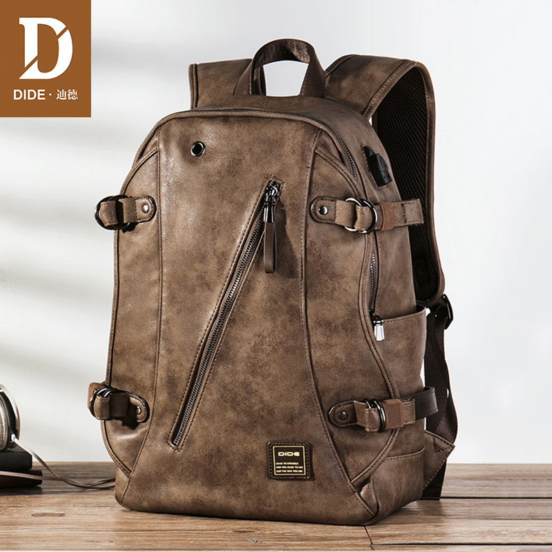 DIDE USB Charging Anti theft Leather School Backpack Bag For teenager fashion male Waterproof travel laptop backpack Men temena fashion men usb charging function laptop backpacks school bag waterproof anti theft backpack for male teenager bagscbp343