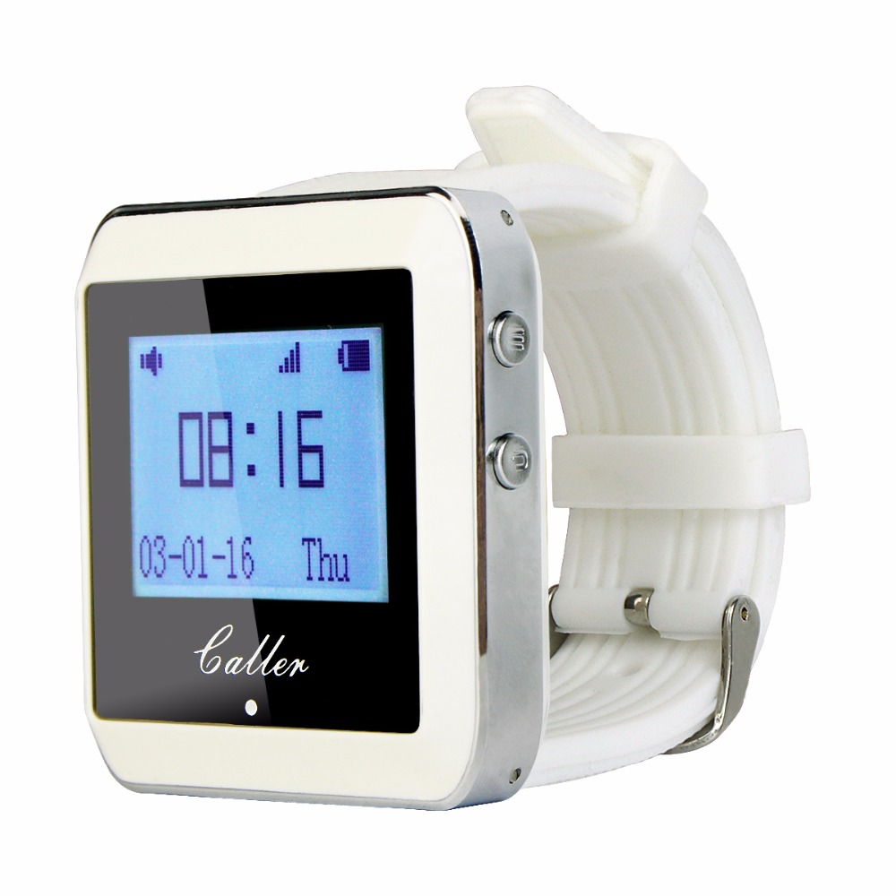 2 Pcs 999 Channel RF Wireless White Wrist Watch Receiver for Fast Food Shop Restaurant Calling Paging System 433MHz F3288B-in Pagers from Computer & Office    3