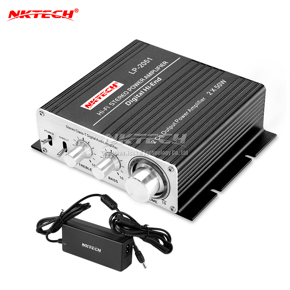 NKTECH LP-2051 Digital Audio Amplifier Hi-End BASS Hi-Fi Stereo Audio Home Car Class-T 2CH Tri-path Player 50W x 2 RMS Amplifier stereo audio amplifier 2 x 40w