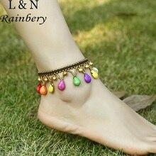 Rainbery новые браслеты для женщин медные бусины Многоцветный капли воды ручной работы плетеный камень Винтаж чешские ног Цепочки JA0062