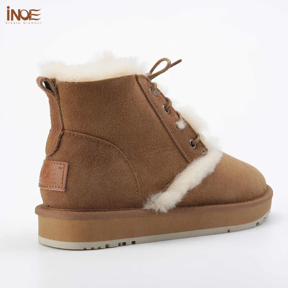 חדש אופנה סגנון אמיתי כבש עור פרווה מרופד נשים קרסול חורף שלג מגפי תחרה עד מקרית חורף נעלי שאינו להחליק בלעדי