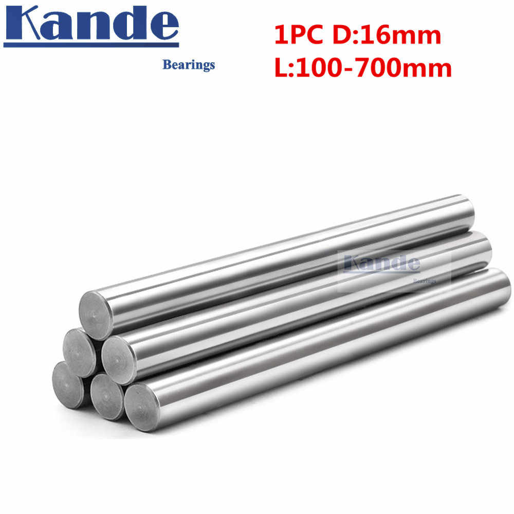 1 pc d: 16mm 100mm-600mm impressora 3D 16mm do eixo da haste do eixo linear haste cromada eixo CNC partes Kande