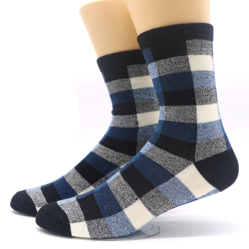 3Pair New Autumn Winter Men Warm Socks Art Classic Plaid Hip Hop Sock Printing Funny Socks Men Meias Masculinas Chaussette Homme
