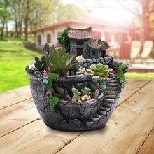 Resin 18*16*17cm Flower Pot Planter Prop Plant Garden Home Creative Succulent Fashion Creative Models Garden Supplies Decoration