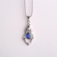 Robira Classic Wishing Bottle Blue Sapphire Pendants 18K White Gold Halo Pendant Not Include a Chain 2017 Fine Jewelry For Women