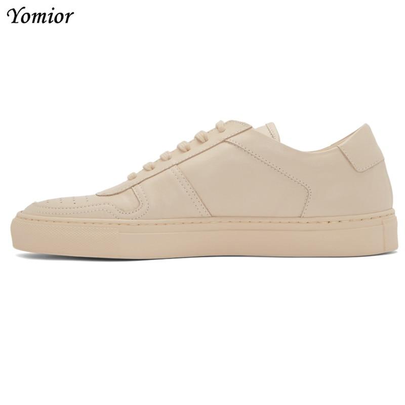 Yomior ยี่ห้อรองเท้าทำด้วยมือผู้ชายอังกฤษของแท้หนังสบายแฟชั่นฤดูใบไม้ร่วงฤดูใบไม้ร่วง Casual Flats Loafers สีขาว-ใน รองเท้าลำลองของผู้ชาย จาก รองเท้า บน   1