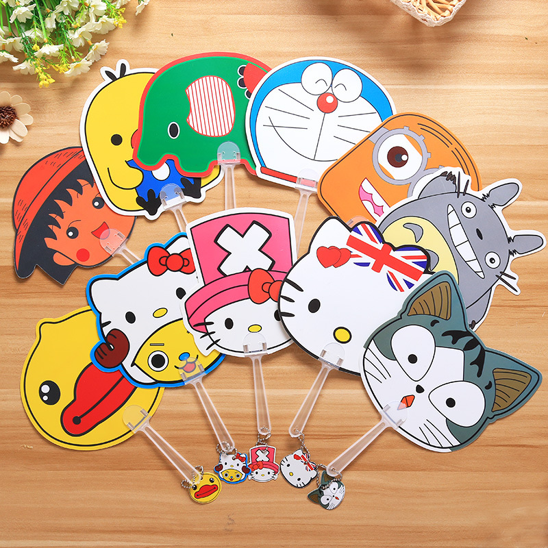 50pcs New Hot sale Small Plastic Cartoon Character Hand fan for kids Party Favor promotion items