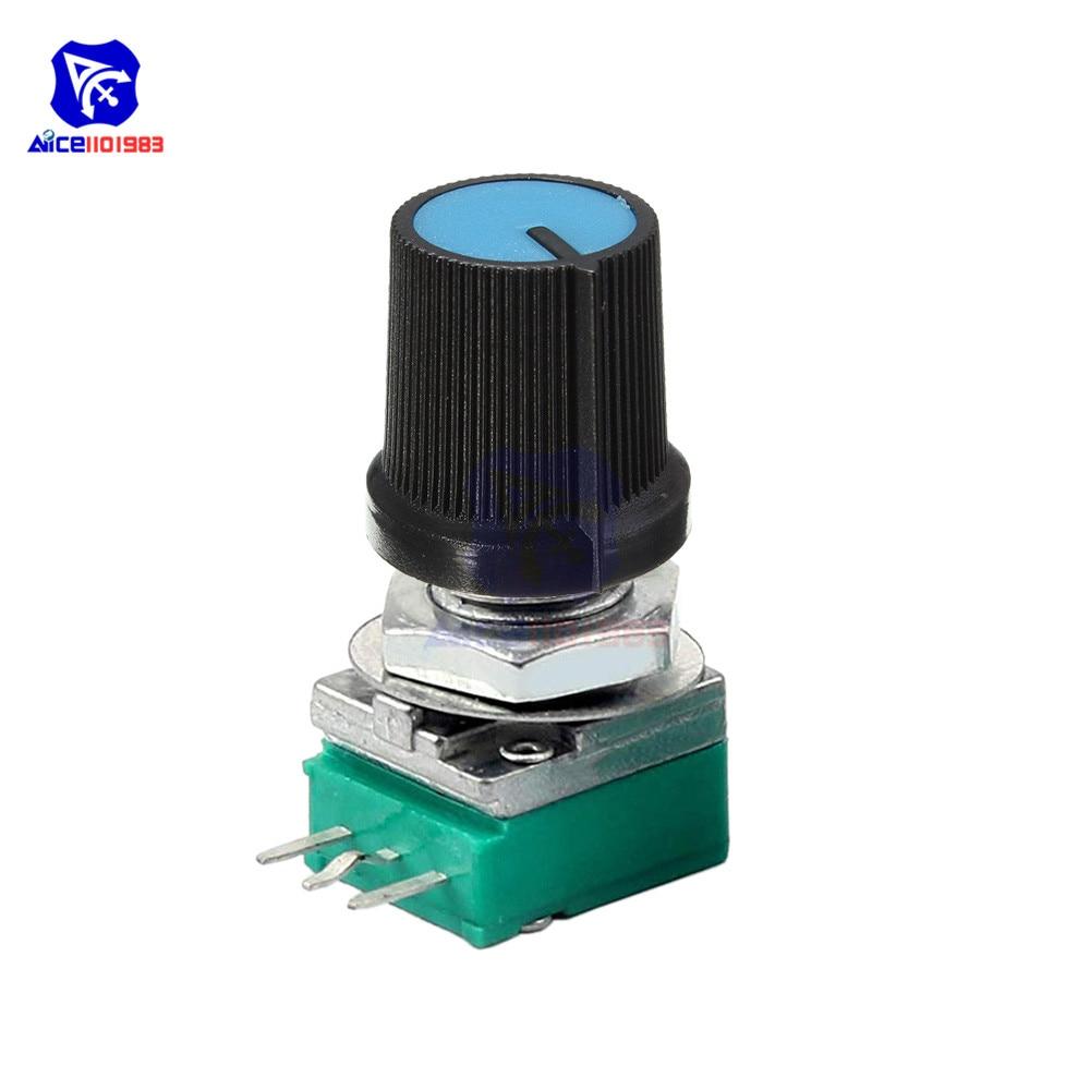 1PC B10K 10KΩ Ohm 3 Pin Single Linear Rotary Potentiometer 15mm Knurled Shaft 6mm Dia. With Potentiometer Knob For Arduino