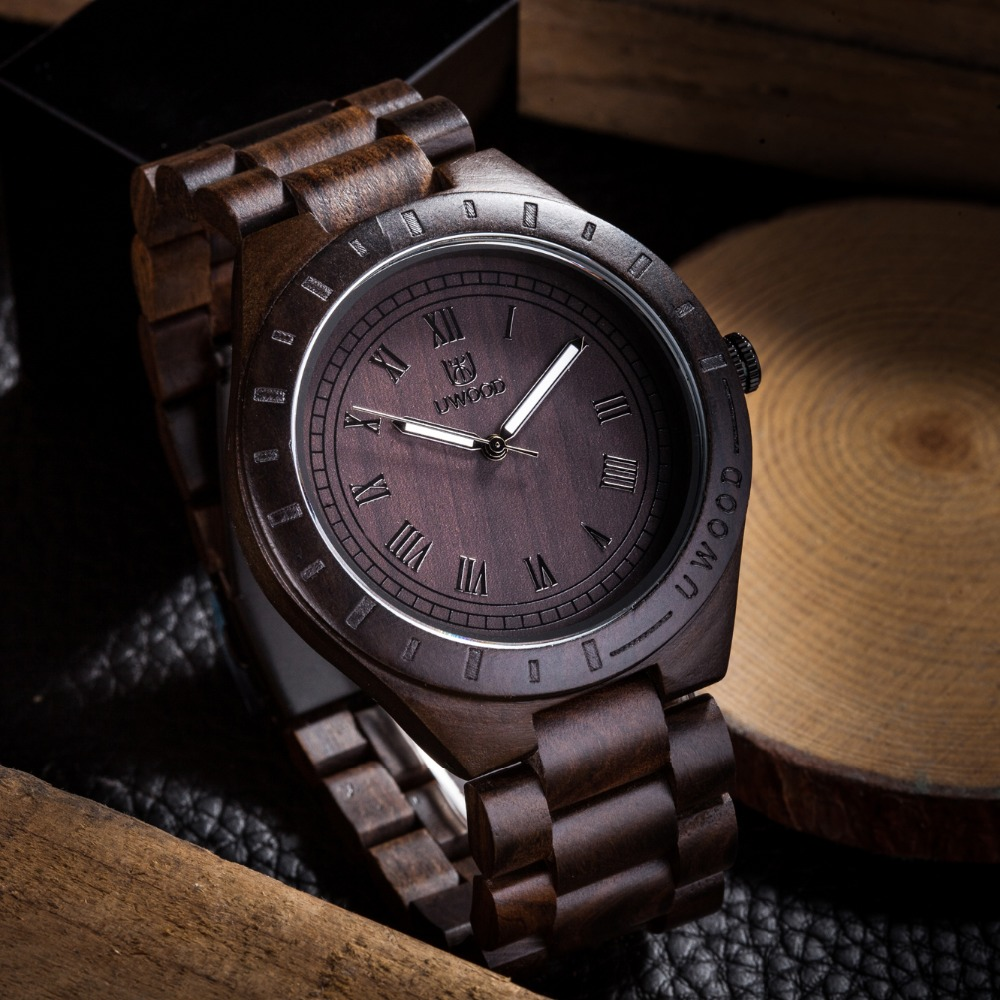 цены 2018 Hot Sell Men Dress Watch QUartz UWOOD Mens Wooden Watch Wood Wrist Watches men Natural Calendar Display Bangle Gift Relogio