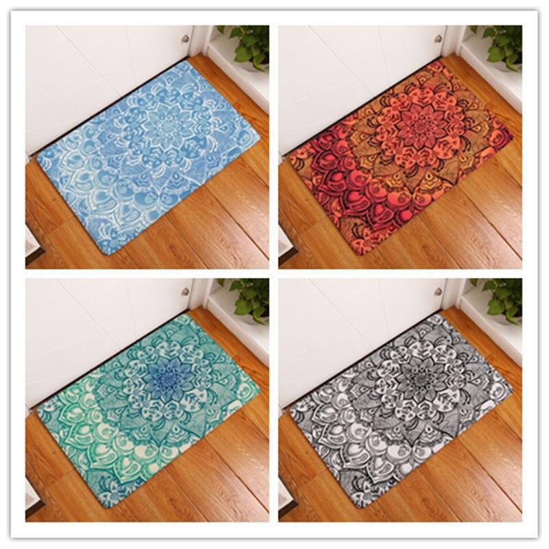 Geometric Flowers Printing Pattern Carpet Door Mats Kitchen Toilet Long  Strip Of Non Slip Mat Paillasson