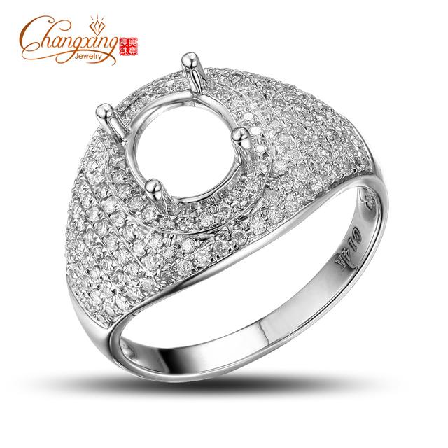 Magnífico Oval 6x7mm 14kt Oro Blanco 0.70ct Unplated Pavimenta Set Diamond Semi Anillo de Montaje