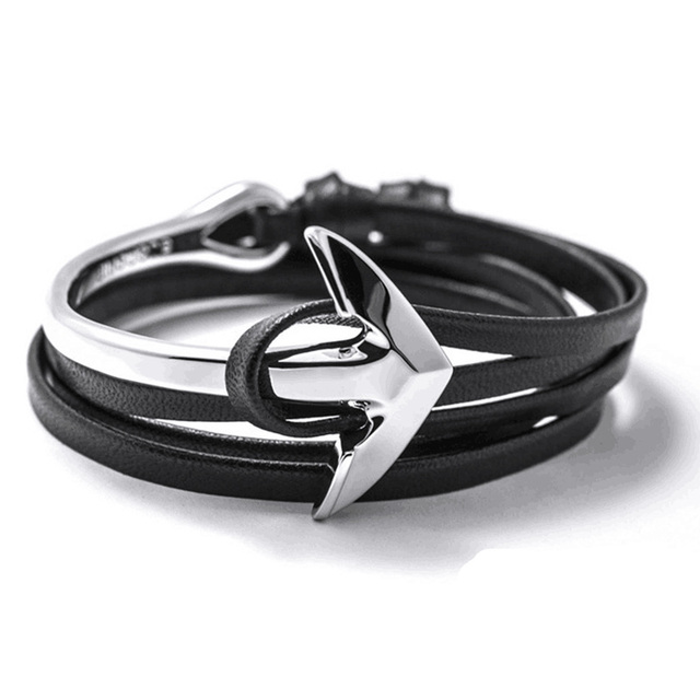 Fast ship New Arrival Fashion Jewelry PU Leather Bracelet Men Half Bend Anchor Bracelet tom hope