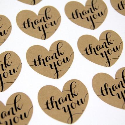 kraft thank you heart stickers kraft thank you stickers invitation