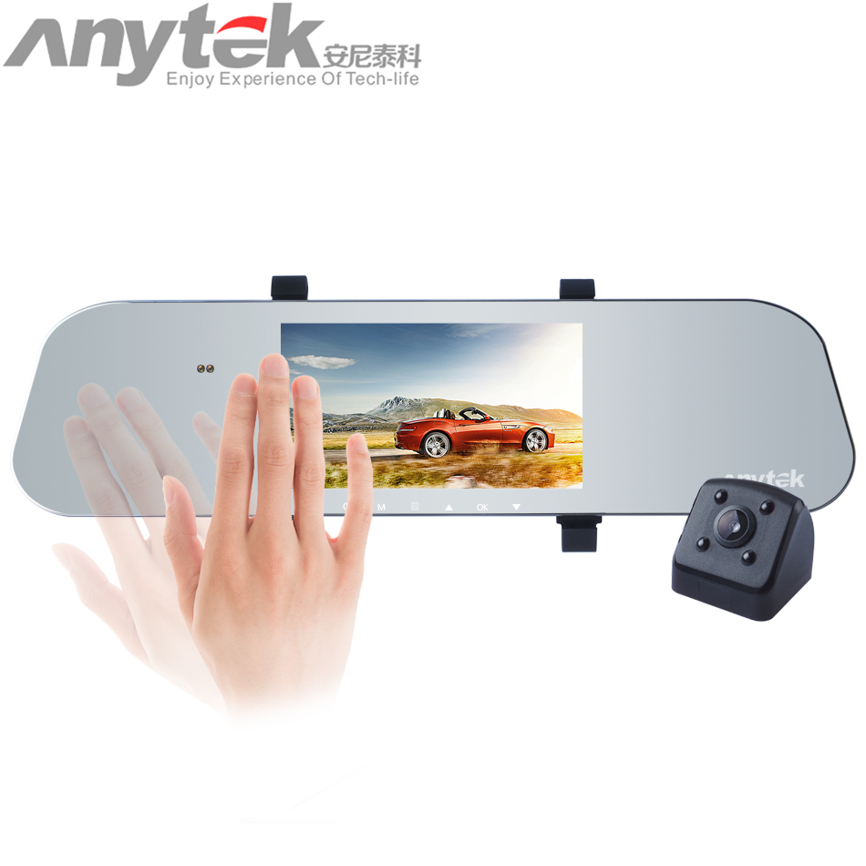 Anytek A80+ Dual Lens DVR Camera Car Video Recorder Ultra thin Rearview Mirror 1080P G-Sensor Gesture sensing Dash Cam 5 inch car camera dvr dual lens rearview mirror video recorder fhd 1080p automobile dvr mirror dash cam