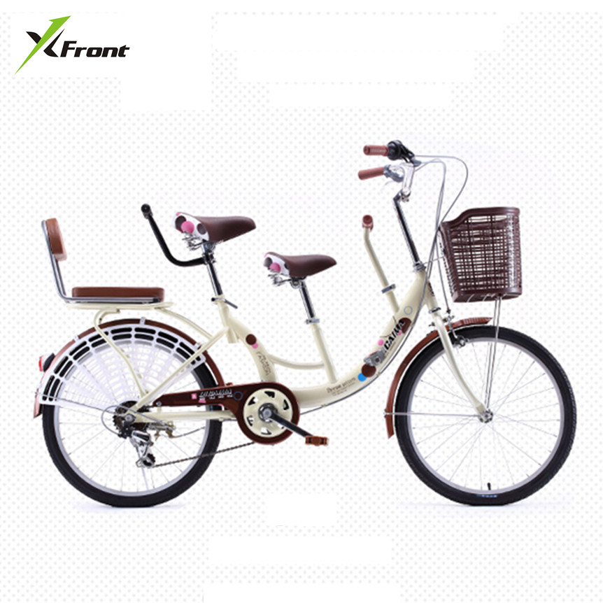 New brand 22 inch aluminum wheel carbon steel mother and children double seat 7 speed women's bike city lady bicicleta bicycle(China)