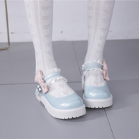 Japanese Kawaii Lolita Shoes Cute Bow Low Heel Round Head Black/Pink/Blue Flat Platform Princess Shoes