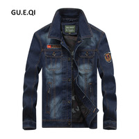 Jeep Chariot Casual Long Sleeve Epaulet Men Motorcycle Jean Coat Brand Clothing Fashion Windbreaker Bomber Denim