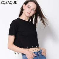 2018 Women's Sexy Midriff-baring Short Style T-shirts Fashion Gold Plated Lion Head Metal Pin Decorated Hem Female's Tops SY999