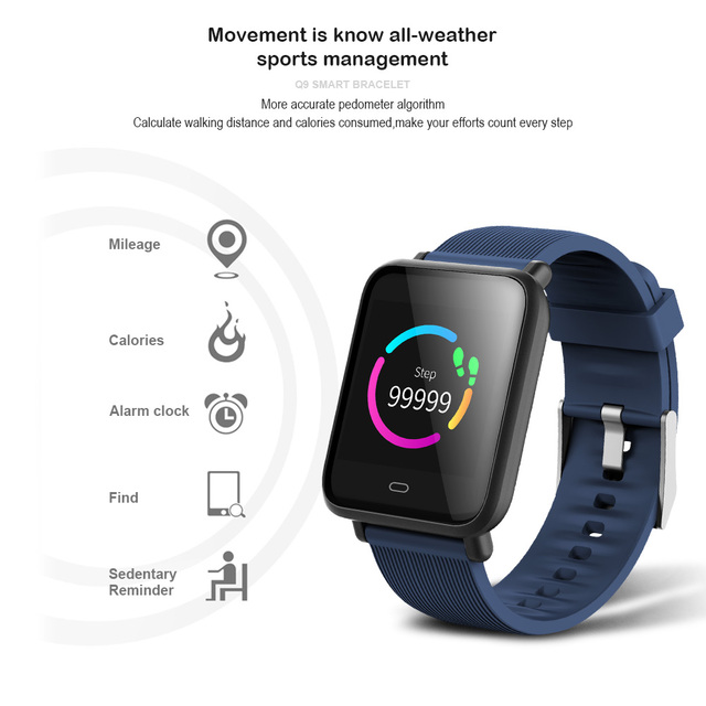 VERYFiTEK Q9 Blood Pressure Heart Rate Monitor Smart Watch IP67 Waterproof Sport Fitness Trakcer Watch Men Women Smartwatch 3
