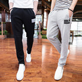 2016 new simple wild zipper mens casual pants Korean version of spring and summer cotton pants Slim-type long pants tide