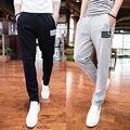 2016 nova simples selvagem zíper dos homens calça casual versão Coreana da primavera e verão de algodão calças Slim-tipo longo calças maré
