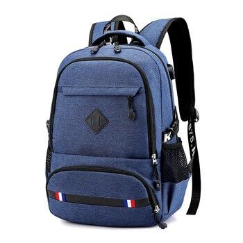 2019 estilo Preppy de carga USB puerto hombres de mochila de la escuela bolsas de ordenador portátil, bolsa de gran capacidad de la Universidad estudiante mochilas