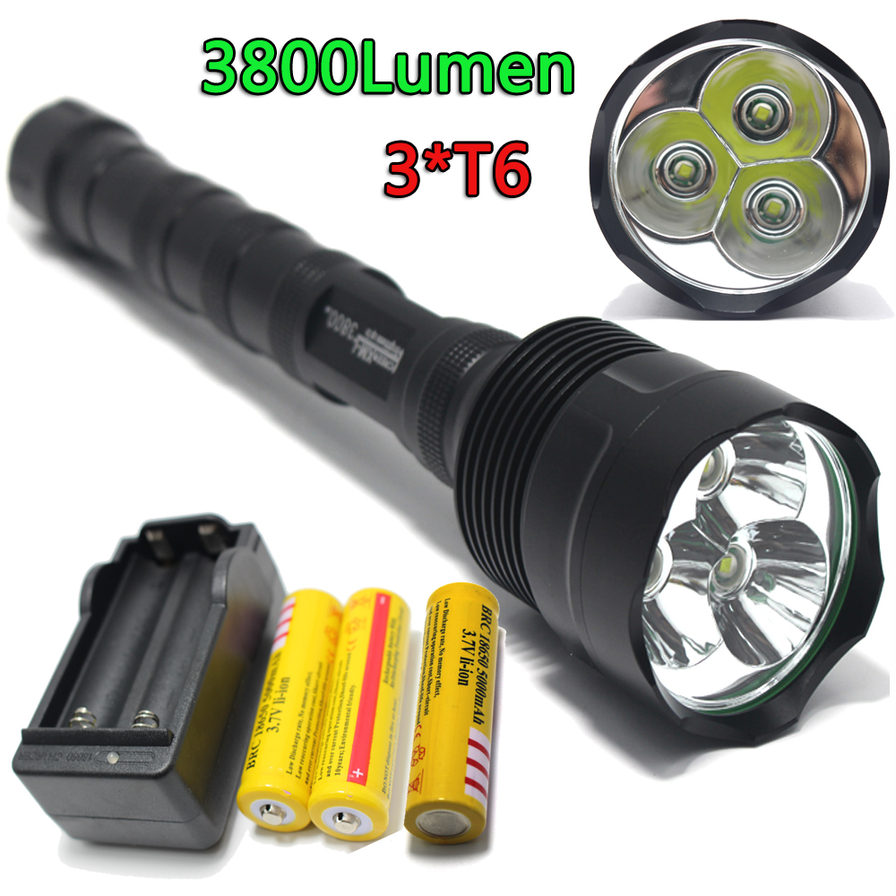 LED Flashlight High CREE XM-L 3T6 Power 3800Lumen 5 Mode Torch Lamp Light Super Bright led light for Camping Hunting fishing 3800 lumens cree xm l t6 5 modes led tactical flashlight torch waterproof lamp torch hunting flash light lantern for camping z93