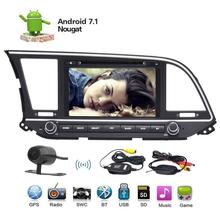 Android 7.1 Bluetooth Car Stereo Radio for Hyundai Elantra 2016 Head Unit Audio GPS DVD Player WiFi SWC SD USB+Wireless Camera