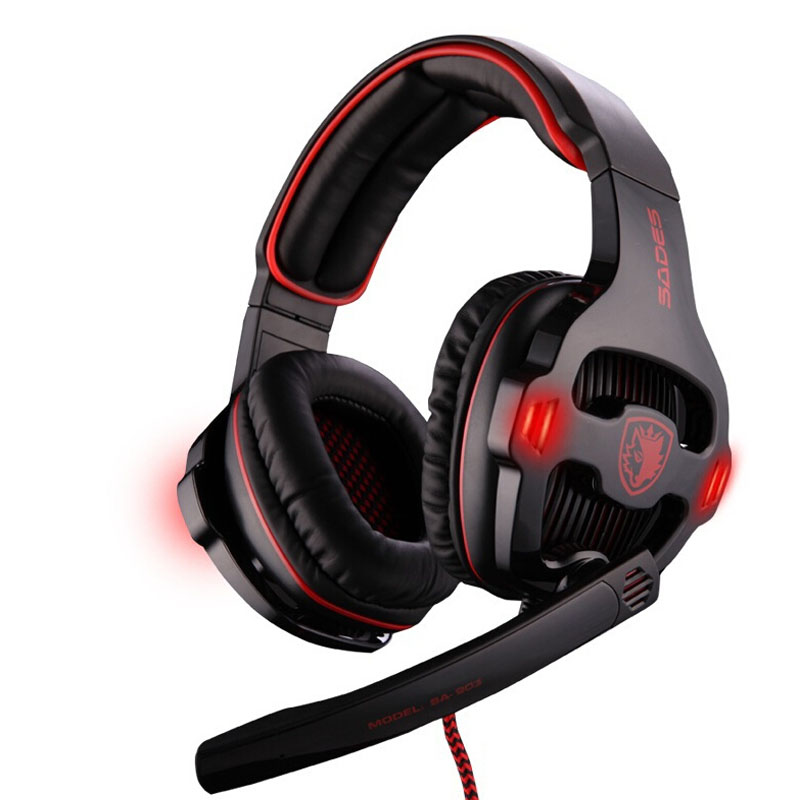 SADES deep bass usb Led headphones Professional Gaming stereo 7.1 Channel Sound headset with Mic Remote Black&Red sa-903