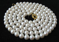 P3025 50 11 12mm natural white round freshwater pearl necklace GP clasp